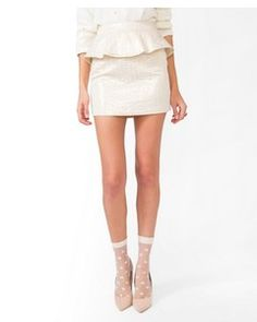 Forever21 Metallic Brocade Peplum Skirt