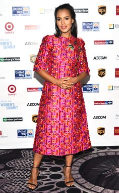 Ms Washington is lovely in a beautiful coral, pink and purple woven silk gown designed by Dolce & Gabbana