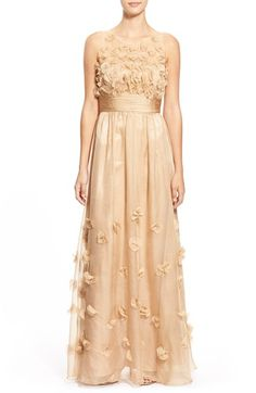 JS Collections Floral Appliqué Chiffon Gown available at #Nordstrom