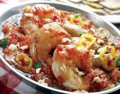 Greek Shrimp Saganaki recipe with Feta cheese (Garides Saganaki) – My Greek Dish – 80 Days Restaurant Shrimp Saganaki Recipe, Gemista Recipe, Fried Eggplant Recipes, Seafood Recipes, Cooking Recipes, Prawn Recipes, Chilli Recipes, Kitchens, Healthy Recipes