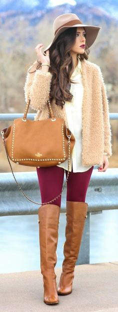 BORDEAUX - Faux Fur Jacket with Classic silk blouse and Burgundy Textured Leggings and Over the knee booties / The Sweetest Thing