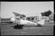 Photograph taken by Whites Aviation. Quantity: 1 b&w original negative(s). Tiger Moth, Commercial Aircraft, New Zealand, Aviation, Building, Travel, Viajes, Buildings, Destinations