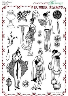 Fabulous Flappers Unmounted Rubber stamp sheet - A4 - these are amazing quality. Chocolate Baroque
