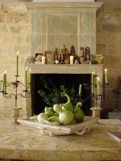 limestone wall and fireplace
