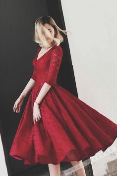 Red lace prom dress, vintage prom dress, knee length prom dress with half sleeves
