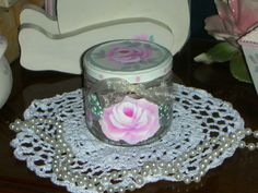 """CLEAR JAR WITH ROSES 3.5x3.5"""" ej hp shabby chic cottage vintage hand paint medW2 #Unbranded #Cottage"""
