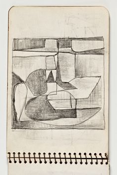 Diebenkorn, Graphite, Page 04 from Sketchbook # 03 [abstraction, shaded shapes]