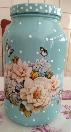 Ideias para reciclagem de Frascos de Vidro - özel zevklerim - Welcome to the World of Decor! Recycled Glass Bottles, Glass Bottle Crafts, Bottle Art, Glass Jars, Mason Jar Crafts, Mason Jars, Decoupage Jars, Vase Design, Altered Bottles