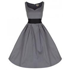 0fe200e405ba  Bobbie Jo  Chic 1950s Inspired Grey Cotton Box Pleat Swing Dress