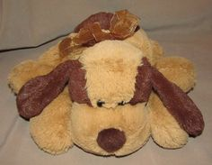 Circo Tan Brown Puppy Dog Plush Stuffed Toy Target  Laying Down Bow Spots #BestMadeToys