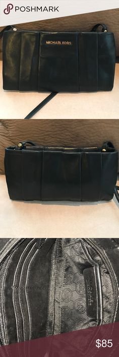 ✨Michael Kors pleated Leather Shoulder Bag✨ Cute soft leather shoulder bag with pleated appearance, zipper closure, inside zipper pocket, open pocket, 6 credit card slots, note: handbag has some scratches on the body, light spot from a piece of tape, some scratches on the inside leather, overall bag in good condition, approx H 6 L 11 D 1 strap 17.5 a nice bag to use on an evening out, look at additional pics before purchasing 🚫OFFERS KORS Michael Kors Bags Shoulder Bags