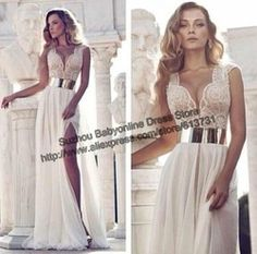 Online Shop New Designer 2014 Vestidos De Noiva Deep V-Neck High Slit Beaded Top Ivory Chiffon Sheath Bridal Wedding Dresses With No Belt|Aliexpress Mobile