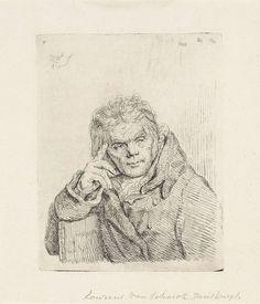 Pieter Christoffel Wonder | Portret van Laurens van Schaik, Pieter Christoffel Wonder, 1814 | Portret van Laurens van Schaik. Zijn arm rust op de leuning van een stoel en met zijn hand ondersteunt hij zijn hoofd. Van Schaik was de bediende van de kunstenaar en zijn ouders.