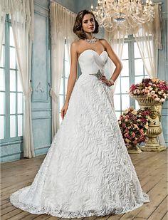 A-line/Princess cariño barrer / cepillo tren encaje y raso vestido de novia - USD $ 220.49