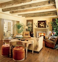 love exposed beams in reclaimed wood for game room or sewing room?