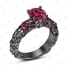 1.30 CT 14k Black Gold Finish Round Pink Sapphire Solitaire with Accents Ring #Affoin8 #EngagementRing