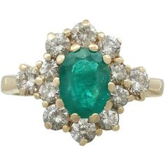Preowned 1970s 1.30 Carat Emerald And Diamond Yellow Gold Ring (16.210 DKK) ❤ liked on Polyvore featuring jewelry, rings, cluster rings, yellow, diamond cocktail rings, vintage emerald ring, 18k gold ring, vintage diamond rings and oval diamond ring