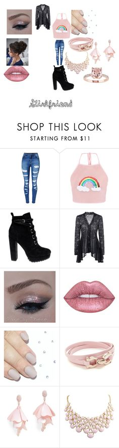 """""""Untitled #375"""" by megibson2005 on Polyvore featuring WithChic, Daya, Lime Crime, Salvatore Ferragamo and Oscar de la Renta Pink Label"""