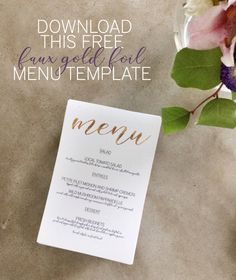 Menu Templates Free Microsoft Impressive Faux Gold Foil Menu Templates That You Simply Download Customize In .