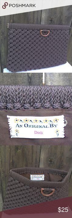 vintage brown clutch vintage brown clutch- macromae- W9.5_H7 vintage Bags Clutches & Wristlets