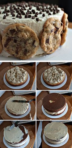 cookie dough cake tutorial #cookie #dough #cake #recipe  #cookies  http://thecakebar.tumblr.com/post/39252197566/chocolate-chip-cookie-dough-cake