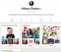 Hillary Clinton just joined Pinterest!