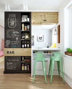 Wall cut out and Chalk-board wall with flip-up counter