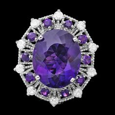 14k White Gold Ring with 20ct Amethyst and 1.30ct Diamonds
