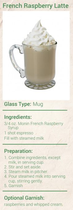 Create this delicious French Raspberry Latte in minutes using Monin Gourmet Syrup. Add a splash of Monin to coffee, cocktails, teas, lemonades and more. Coffee Drink Recipes, Starbucks Recipes, Coffee Drinks, Coffee Club, Coffee Love, Raspberry Syrup, Cappuccino Machine, Espresso Drinks, Latte Recipe