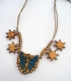 Starry necklace gold and blue brass and enamel by LiloLilsEmporium