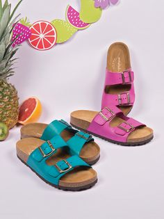 Moshulu Sandals - Bright coloured footbeds, Bavaria Bright!