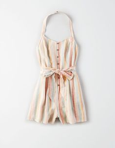 AE Button Front Halter Romper by American Eagle Cute Summer Outfits, Cute Casual Outfits, Pretty Outfits, Pretty Clothes, American Eagle Outfits, American Eagle Shirts, Sorority Recruitment Outfits, Estilo Tropical, Best Friend Outfits
