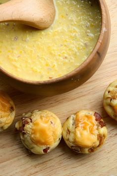 Recipe | CROCKPOT Corn Chowder {with Bacon-Cheddar Biscuits} ...  #soup #comfort food