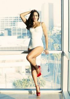 Paula Patton in white lingerie