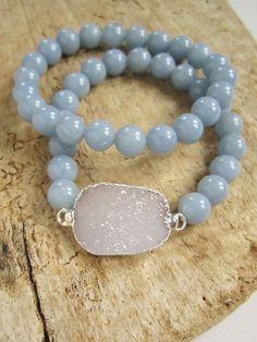 Druzy Stretch Bracelet White Druzy Drusy Quartz Angelite Beads