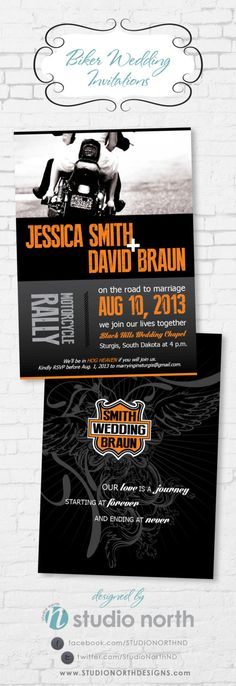 Biker Motorcycle Harley Davidson Inspired Wedding Invitation by StudioNorthND on Etsy, $2.20