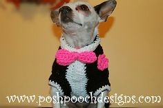 Crochet pattern for the Dog Tuxedo Sweater, With bow tie and flower. This pattern has instructions on how to size it to fit your dog, as well a pictures.