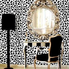 Leopard Skin Allover Stencil - Large Scale - Reusable wall stencils for easy DIY home decor! sold by Cutting Edge Stencils. Shop more products from Cutting Edge Stencils on Storenvy, the home of independent small businesses all over the world. Home Interior, Interior Decorating, Interior Design, Decorating Ideas, Decorating Websites, Decor Ideas, Casa Magnolia, Leopard Wall, Leopard Decor