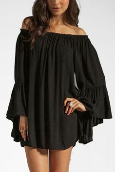 So Pretty! Love the Draping! Love the Sleeves! Super Sexy Black Off-Shoulder Pleated Long Sleeve Chiffon Dress