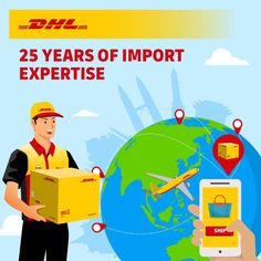 We're celebrating 25 years of Import Express, Door to Door, Importing service. Regardless of your business' size, leverage on our strong global network in over 220 countries and territories to deliver with speed, security and reliability. Import NOW : Countries, Strong, Business, Store, Business Illustration