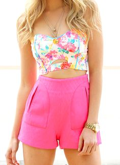 floral crop top and pink shorts