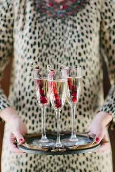 Frozen Cranberry Skewers to keep your champagne cocktail cold!