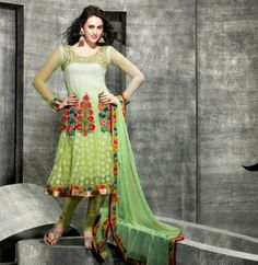 http://www.rajrang.com/apparels/for-her/salwar-suit.html Party Wear Embroidered Green Anarkali Salwar Suit