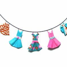 Collier fil à linge origami en papiers washi rose fluo/bleu cyan/orange vif