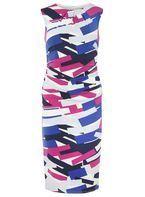 Womens **Lily & Franc Multi Coloured Graphic Print Bodycon Dress- Multi Colour
