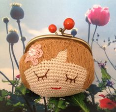 Pouch - Girl with pink ball Love Crochet, Crochet For Kids, Beautiful Crochet, Diy Crochet, Crochet Crafts, Crochet Dolls, Crochet Bags, Crochet Wallet, Crochet Coin Purse