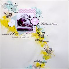 L'inspi du mois By Clara - A FOND DANS LES TAMPONS Scrapbooking Layouts, Scrapbook Pages, Tampons, Layout Inspiration, Eye Candy, Card Making, Paper Crafts, Crafty, Creative