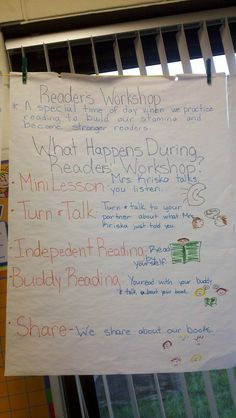 Anchor chart - what is Reader's Workshop Check out the website to see more