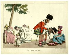 A.Martinet, Satire on the Scottish: while two Highlanders in their kilts lean forward to inspect some fruits being offered for sale, two well-dressed ladies playing with their child lean forward in order to peer under their kilts. October 1815 Hand-coloured etching