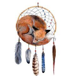 Fox Dreamcatcher  Art Print van originele aquarel van Goosi op Etsy